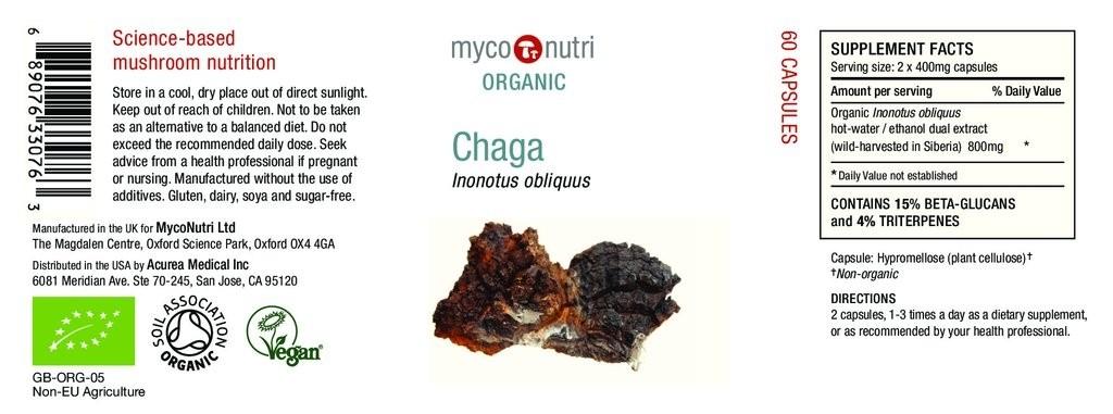 MycoNutri Organic Chaga 60 x Capsules (Inonotus obliquus)